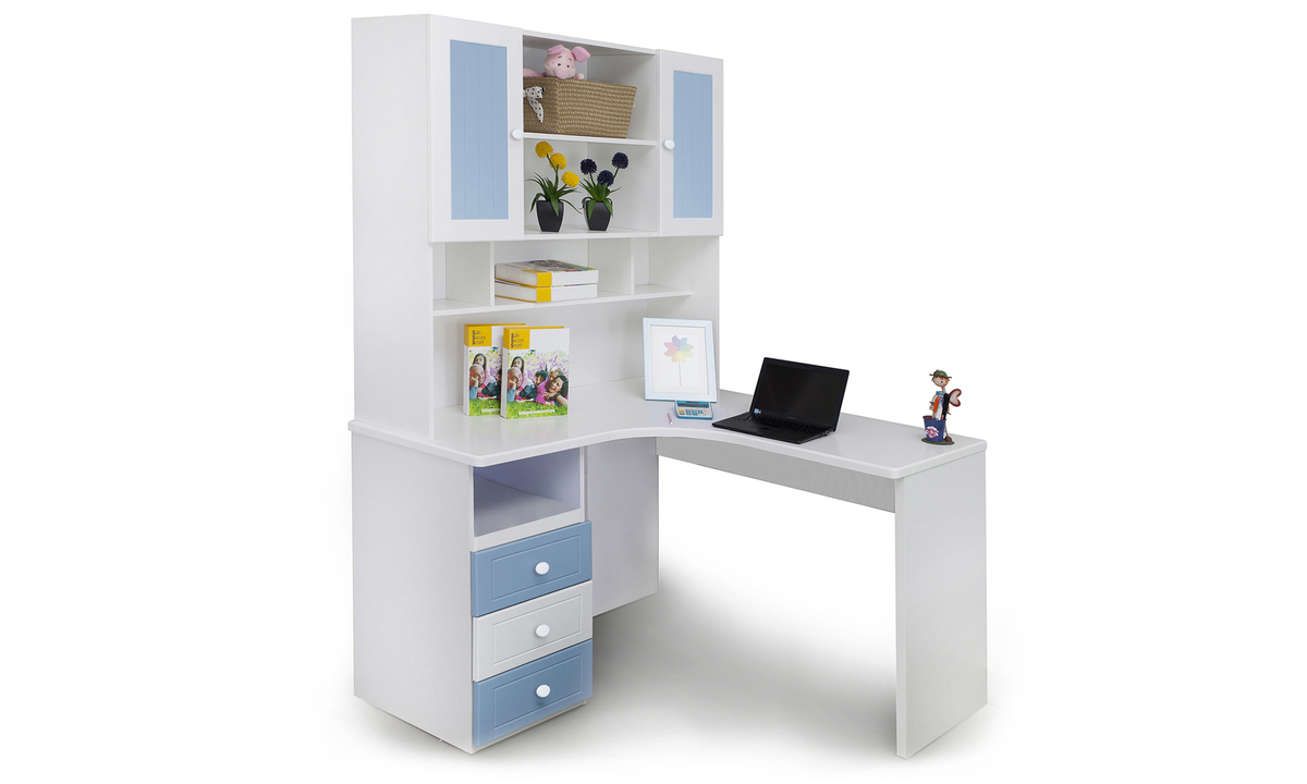 Buy French Collection Corner Study Table, Blue Online In India    Livspace.com