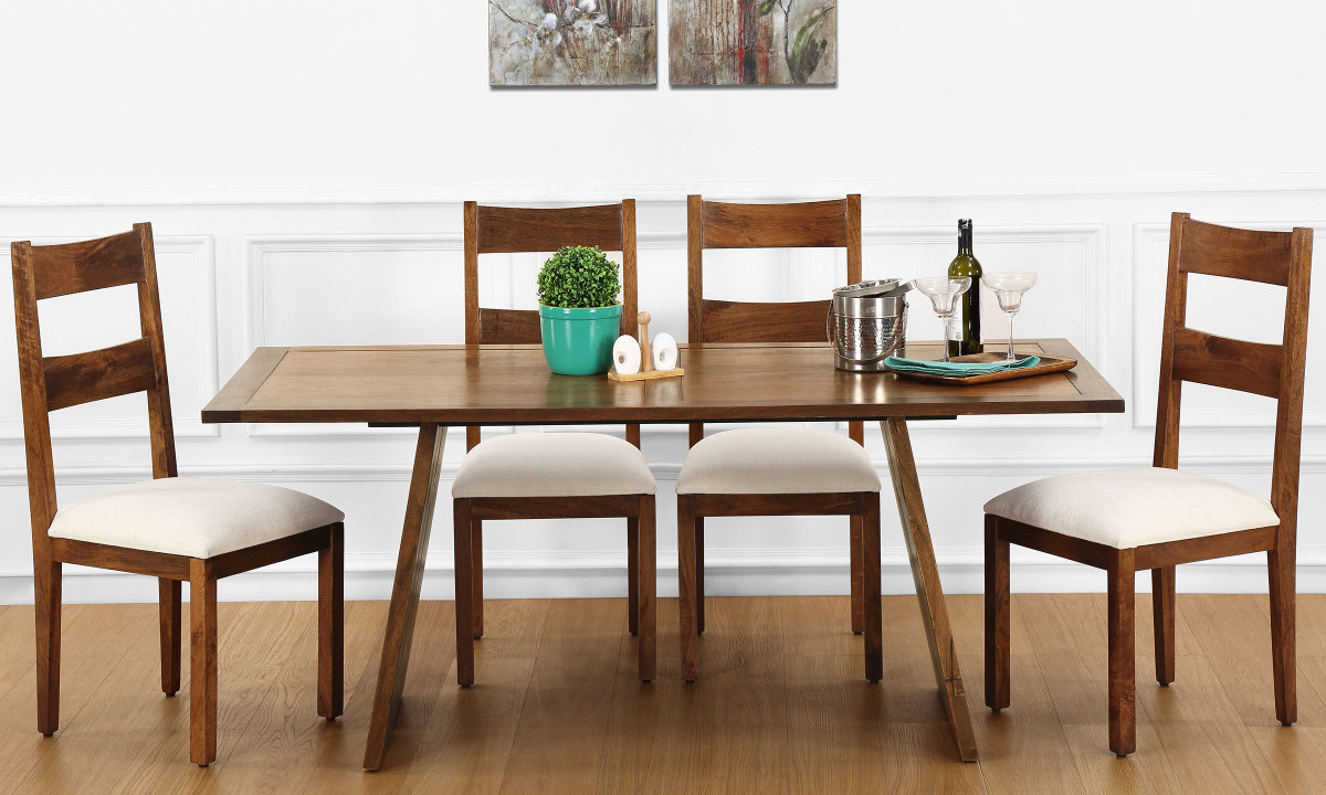 Buy larne 6 seater dining table veneer top online in for Two seater dining table