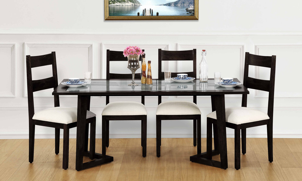 buy anders 6 seater dining table glass top online in india. Black Bedroom Furniture Sets. Home Design Ideas