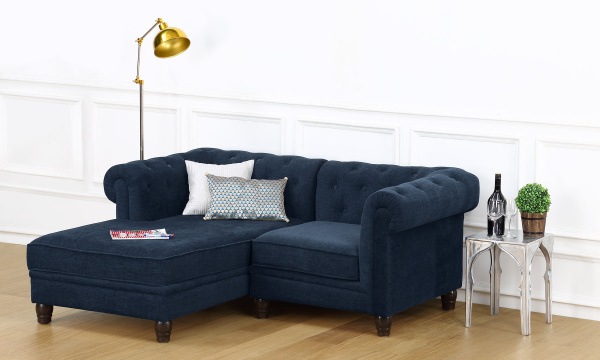 Cassandra L Shape Sofa, Single Seater with Chaise (L)