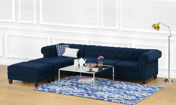 Cassandra L Shape Sofa, 3 Seater with Chaise & Ottoman (L)