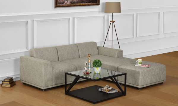 Axel L Shape Sofa, 2 Seater with Chaise & Ottoman