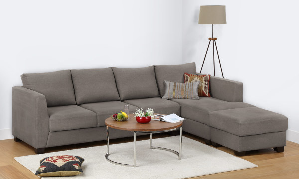 Oliver L Shape Sofa, 3 Seater with Chaise & Ottoman (R)